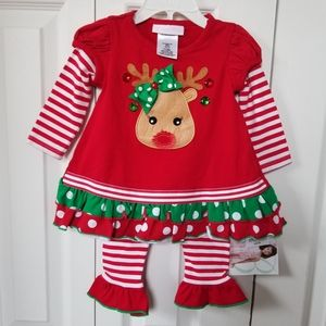 Bonnie Jean Reindeer Christmas Outfit 12 Months